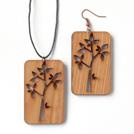 деревянные серьги осень