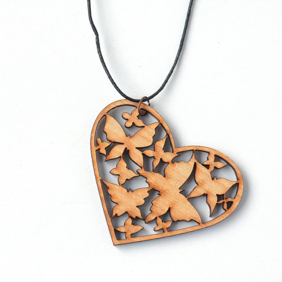 деревянные серьги сердце
